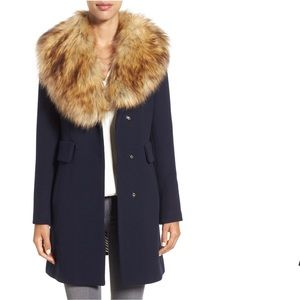 Twill Navy Coat with Faux Fur Collar